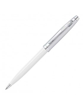 Sheaffer 100 Glossy White Barrel with Brushed Chrome Cap 9324 Ballpoint Pen