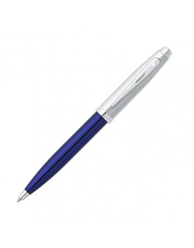 Sheaffer 100 Blue Translucent Barrel with Brushed Chrome Cap 9308 Ballpoint Pen