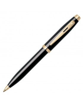 Sheaffer 100 Glossy Black Gold Tone Trim 9322 Ballpoint